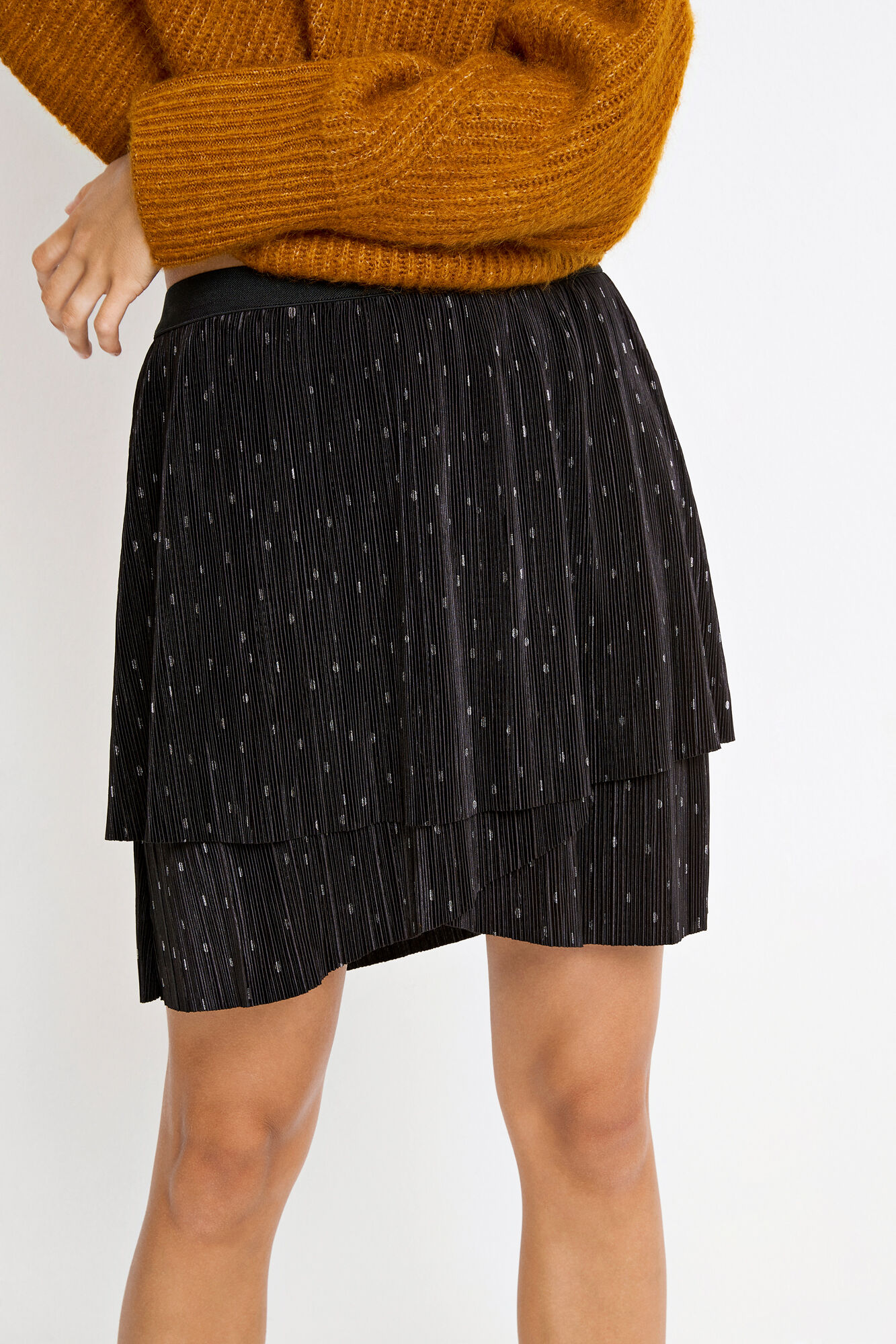 ENDEGREE SKIRT AOP 5942, BLACK SILVER DOT AOP