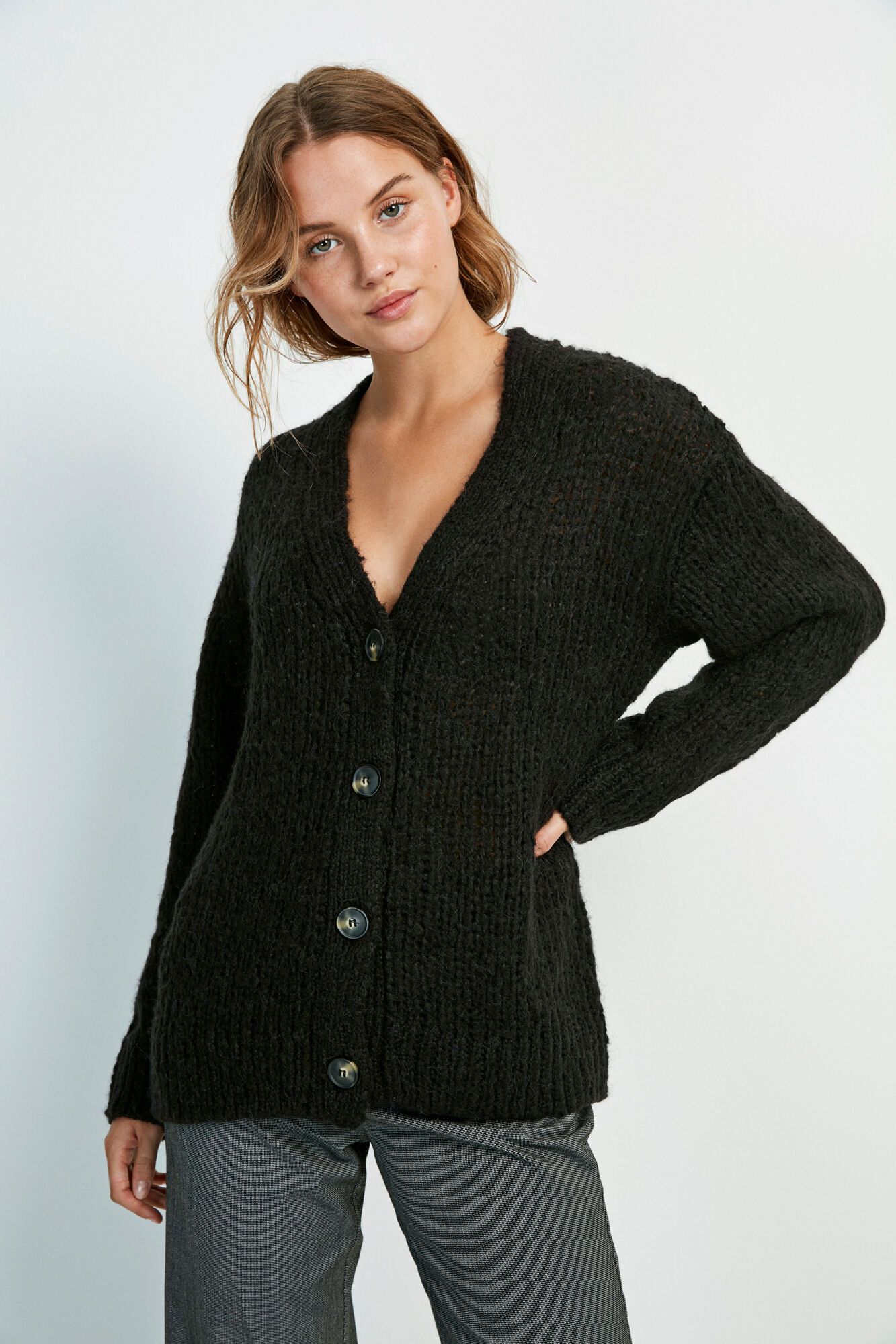 ENCOLDEN LS CARDIGAN 5219, BLACK
