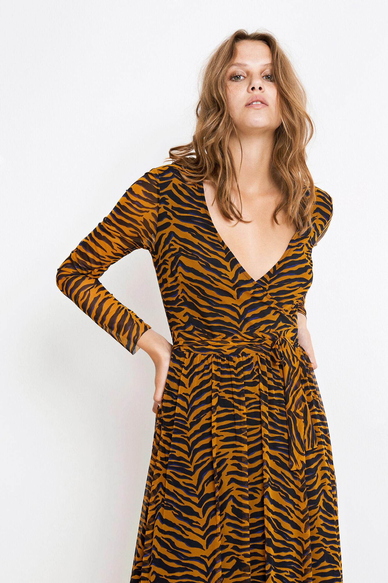 ENELK LS DRESS AOP 5954, SUDAN BROWN TIGER AOP
