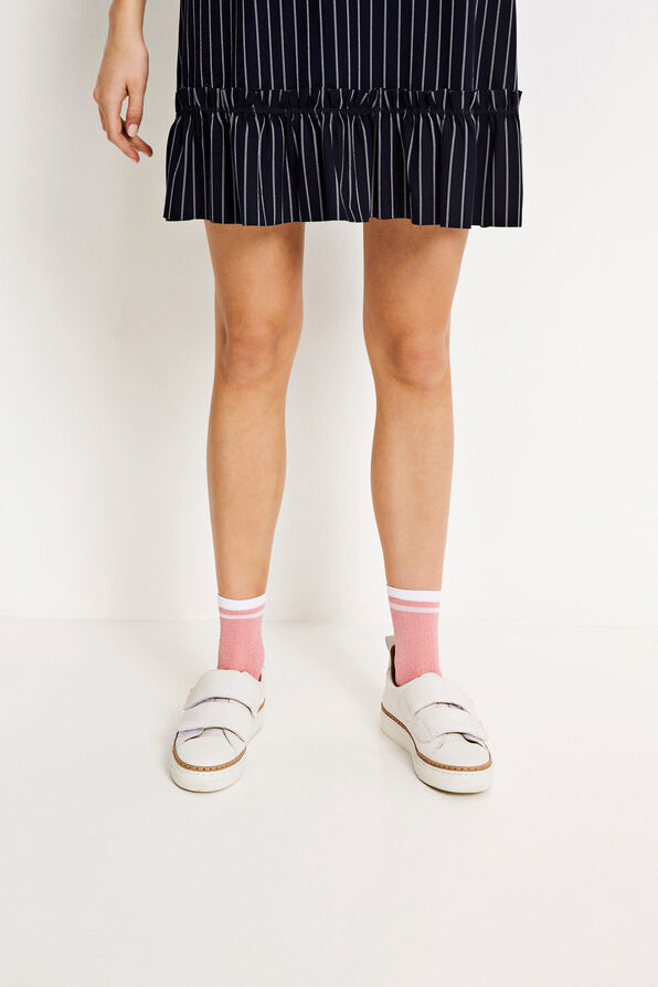 ENLIZ STRIPED SOCKS 5614, PINK GLITTER