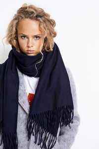 ENNEW WOOL SCARF, NEW NAVY