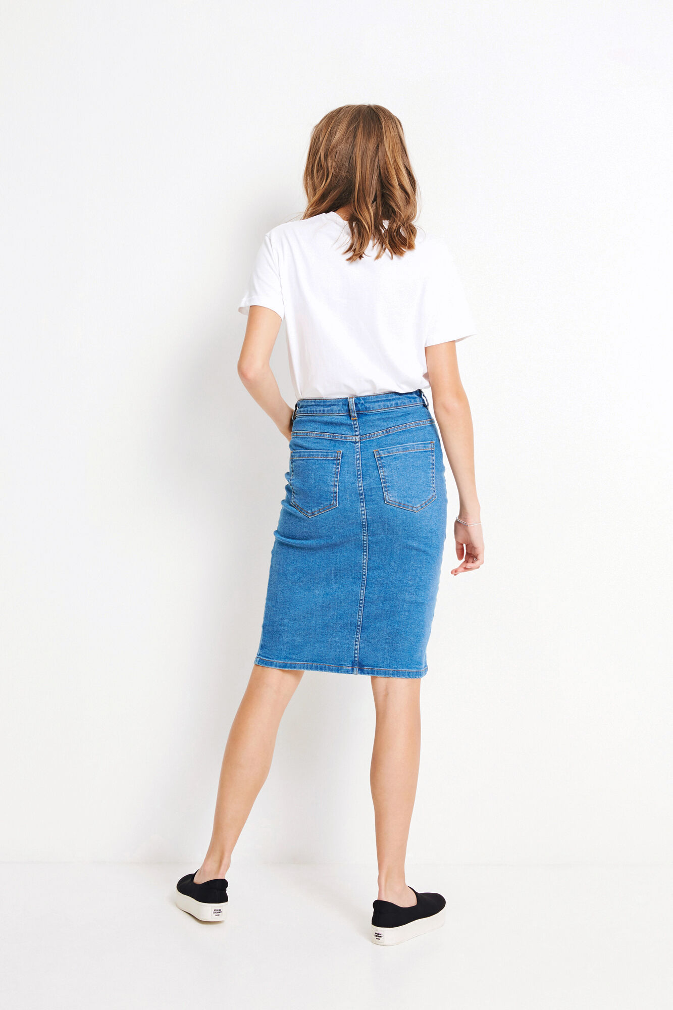 ENEAST DENIM SKIRT 6470, CLEAR BLUE